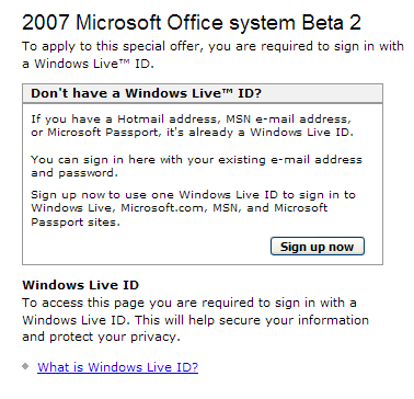 Sign in With Microsoft Live Screenshot
