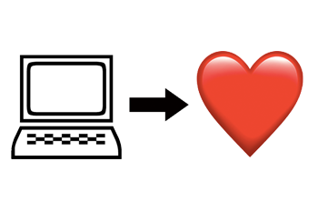 from left to right: a computer, an arrow, a heart